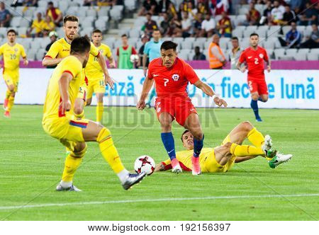 CLUJ-NAPOCA, ROMANIA - 13 JUNE 2017:Chile's Alexis Sanchez (R) of Romania during the Romania vs Chile friendly, Cluj-Napoca, Romania - 13 June 2017