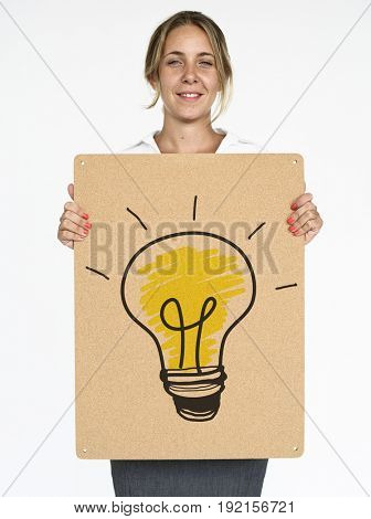 Woman holding placard with lightbulb signal icon