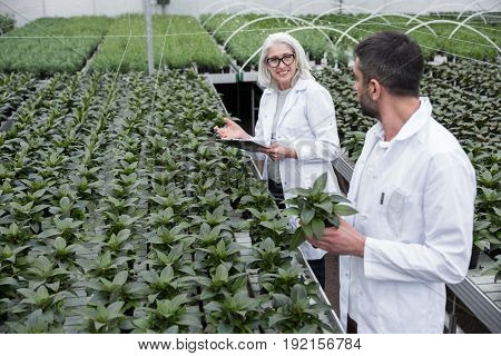 Image of happy young man and mature woman standing in greenhouse near plants holding clipboard. Looking aside.