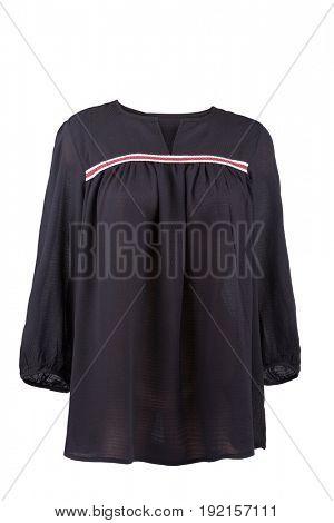 Black linen blouse, isolated on white