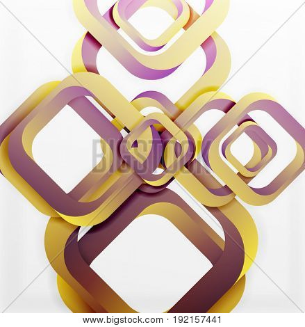 Square background, 3d style overlapping geometric shapes with shadows on light backdrop