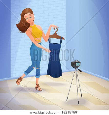 Fashion blogger or video channel host trendy girl standing in front of camera and showing new dress and her outfit, vector illustration with cartoon character