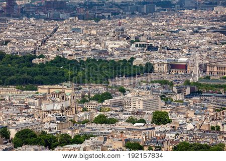 View from above on parisian skyline.