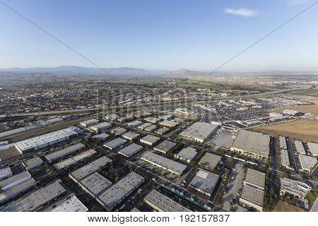 Aerial view of industrial buildings and neighborhoods in Ventura, California.
