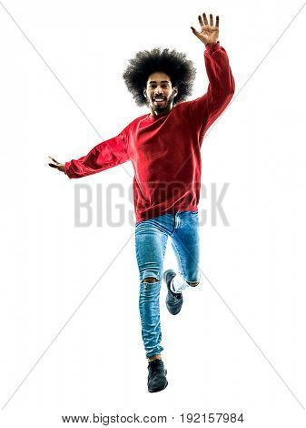 one african man running jumping saluting in silhouette isolated on white background