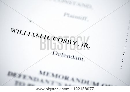 United States - June, 2017: Illustrative editorial image of court case document for defendant Bill Cosby v. plaintiff Andrea Constand for trial held at Montgomery County Courthouse in Pennsylvania.