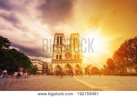 Notre Dame De Paris. France. Ancient Catholic Cathedral On The Quay Of A River Seine. Famous Tourist
