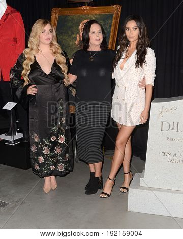 LOS ANGELES - JUN 14:  Sasha Pieterse, I. Marlene King, Shay Mitchell at the Made Here exhibit preview at the Warner Brothers Studio on June 14, 2017 in Burbank, CA