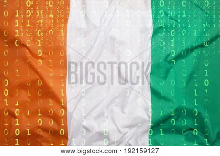 Binary Code With Ivory Coast Flag, Data Protection Concept