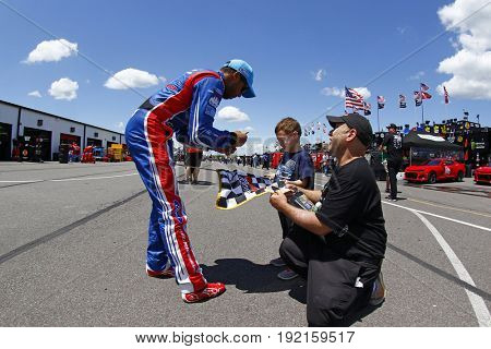 June 09, 2017 - Long Pond, PA, USA: Darrell Wallace, Jr. (43) hangs out in the garage after practicing in the 43 car of for the Pocono 400 at Pocono Raceway in Long Pond, PA.