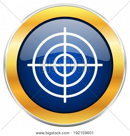 Target blue web icon with golden chrome metallic border isolated on white background for web and mobile apps designers.