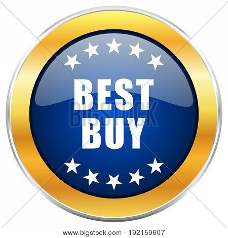 Best buy blue web icon with golden chrome metallic border isolated on white background for web and mobile apps designers.