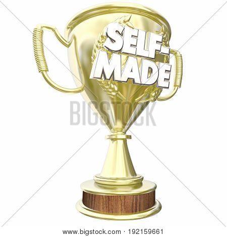 Self-Made Independent Entrepreneur Trophy Award 3d Illustration