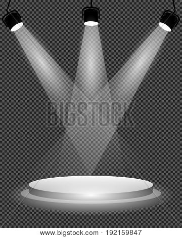 Spotlights on stage podium and bright light illumination on transparent background template for design vector illustration.