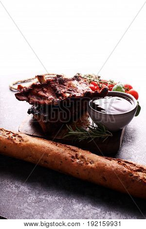 Spicy Hot Grilled Spare Ribs From A Summer Bbq Served With Fresh