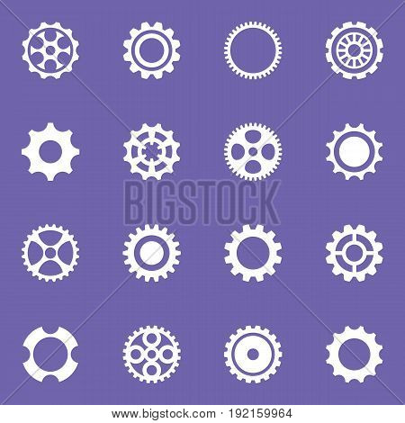 Simple vector cog wheels and gears collection isolated