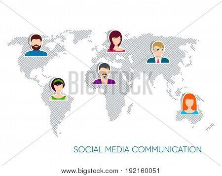 Vector social media communication world map design concept