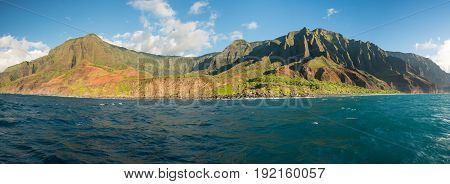 Ka'a'Alahina Ridge on Na Pali coastline in Kauai from sunset cruise