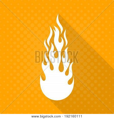 White vector fire flame icon long shadow design