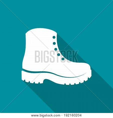 Simple white vector boots icon long shadow design