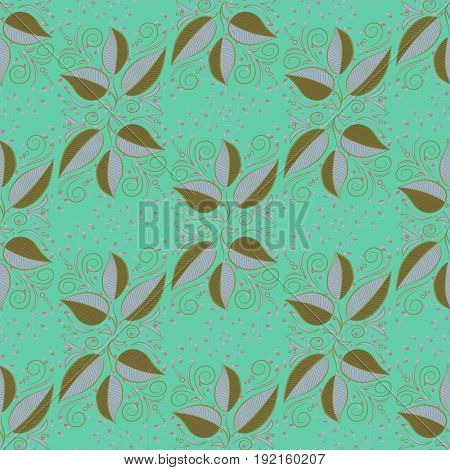 Seamless pattern with floral motif. Seamless floral pattern with leaves watercolor. Vector leaf illustration.