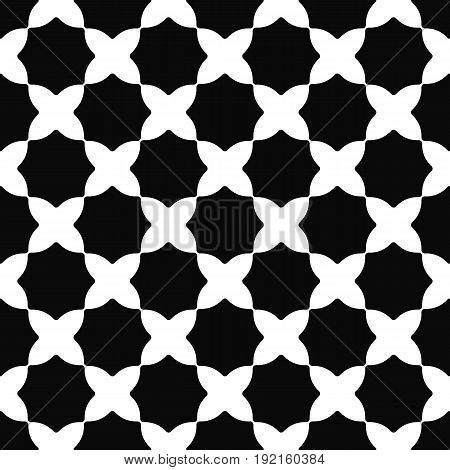 Seamless black and white curved octagon pattern background