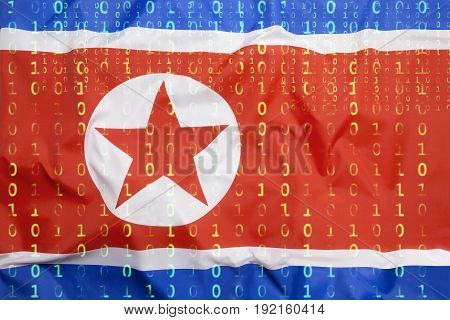 Binary Code With North Korea Flag, Data Protection Concept
