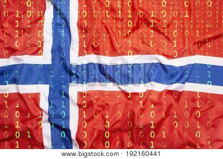 Binary Code With Norway Flag, Data Protection Concept