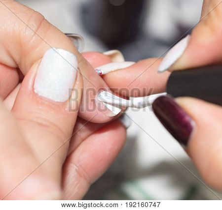 manicure in a beauty salon . A photo
