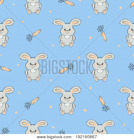 Seamless vector pattern with cute bunnies and carrots on blue. Baby print with rabbits.