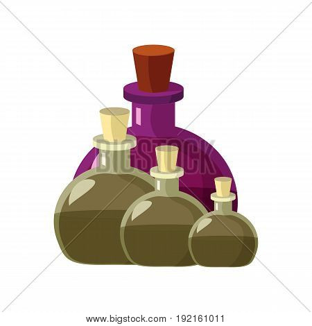 Vintage glass bottles of potion, old luxury perfume, magic oil or ancient pharmacy.  Great for game design, advertising, etc. Old Apothecary Bottles. Cartoon illustration of alchemist beaker of potion