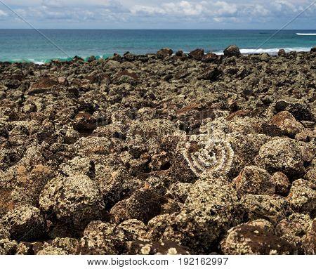 Sacred Heiau Hoouluia near Poipu on south coast of Kauai in Hawaii