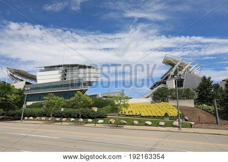 CINCINNATI, OHIO - JUNE 18, 2017:  Paul Brown Stadium is the home of the Cincinnati Bengals football team.