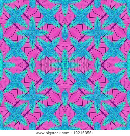 Stylized Floral Check Seamless Pattern Design