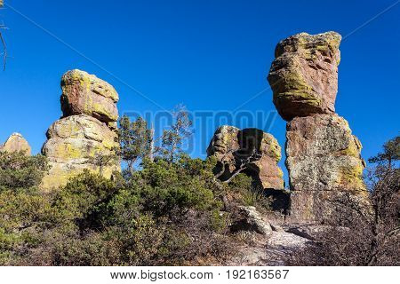Rock Formation with Lichen and Blue Sky