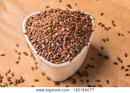 Flax Seeds Linseed In White Bowl
