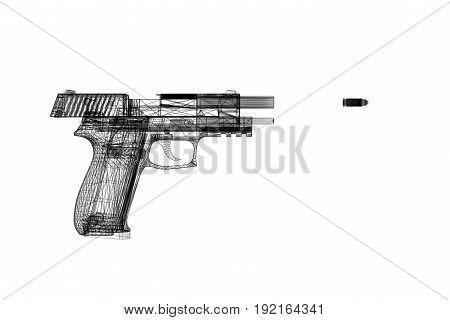 Pistol Gun 3D Illustration On The White Background.