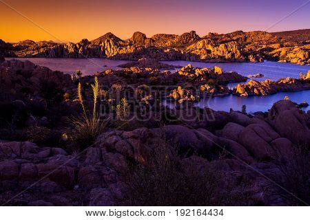 Watson Lake Sunset Rock Formations Recreation Prescott