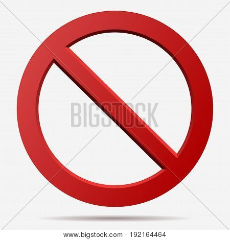 No sign. Censor sign. Red prohibition vector sign. Round No symbol