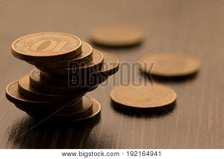 ruble coins. ruble money. ruble currency.Coins stacked on each other in different positions. Money concept.
