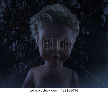 Horror doll photo. Scary ghost plastic doll with black tears on mystic background photo.