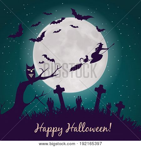 Halloween. Halloween party. Halloween greeting card background. Halloween illustration with Halloween pumpkin, bat, trees, House
