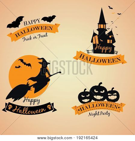 Halloween party banner with halloween elements and place for text. Halloween castle silhouette at night landscape.
