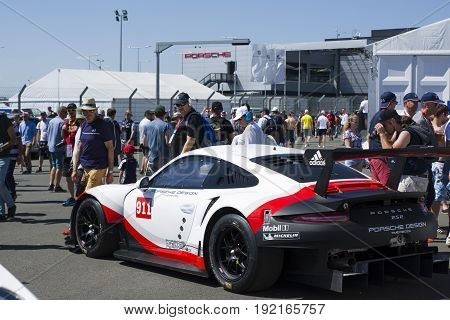 LE MANS FRANCE - JUNE 18 2017: Exposition of Porsche 911 RSR of Porsche GT Team during the 24 hours of Le mans circuit