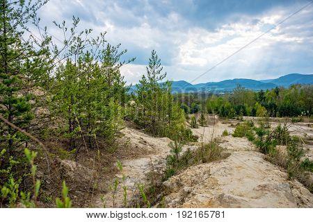 Narrow path in the sandstone pit in thuringia saalfeld