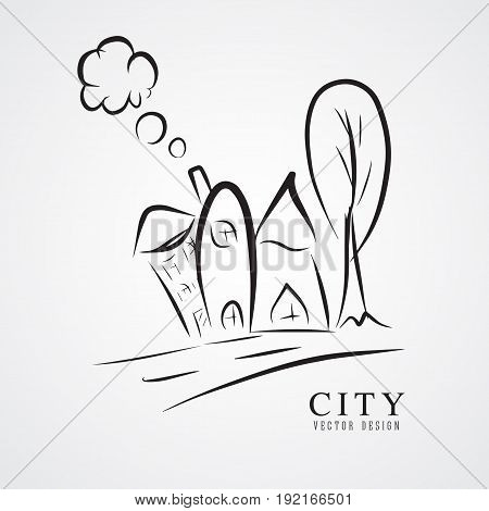 set of outline hand drawn buildings Vector illustration