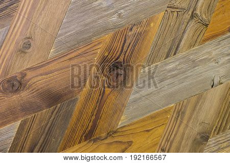 Fragment of vintage parquet floor. Grunge ecological wooden background texture, old wood wall. With place for your text