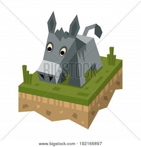 Isometric flat donkey on the tile of ground. Geometric donkey . Isometric vector illustration - donkey on 3d land or soil tile
