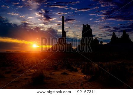 Monument Valley Landscape with Clouds and Rock Spires