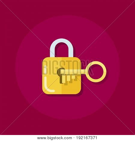 Identity or logon icon. Padlock with a key in a flat style. The process of opening the lock. Flat vector illustration